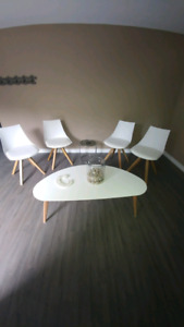 4 White Chairs and Coffee Table