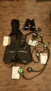Scuba rig, BCD, and accessories, sold as a lot