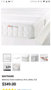 Twin memory foam mattress + single bed stand