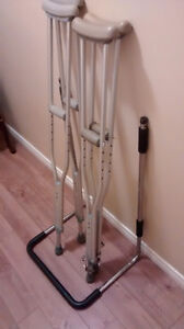 Aluminum crutches and adult bed rail