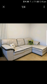 Free delivery in Croydon cream L-shaped leather sofa