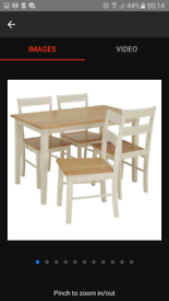 Brand new. 2 tone table and chairs