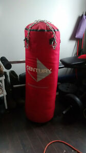 Boxing bag, gloves and hand wraps