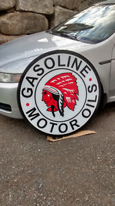 LARGE RED INDIAN GASOLINE AND OIL SIGN