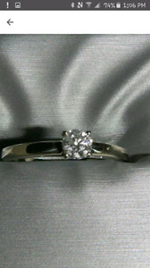 14K White Gold Engagement Ring - Size 7.5