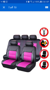 Car seat covers , pink and black 11 pieces