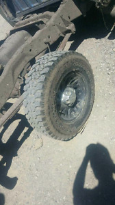"""15"""" 5x114.3 Rims with Goodyear Wrangler tires."""