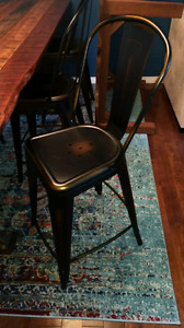 Set of 4 industrial bar copper stools chairs
