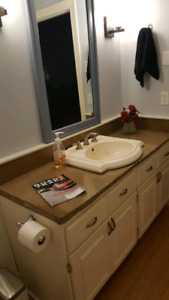 """Tumbled Marble-topped 60"""" vanity and sink"""