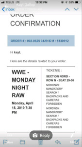 Looking to swap or buy tickets for  raw smackdown April 15 16th
