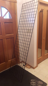 BLACK GRID WALL 2'×7' -2 PIECES AND MISC HOOKS