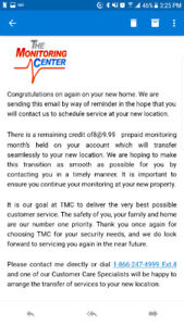 8 mth credit for The Monitoring Center home security