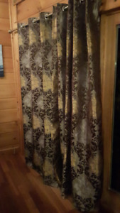 Brown and Beige print curtain panels