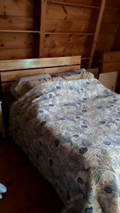 Wood queen bed for sale