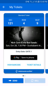 Nick Cave and the Bad Seeds concert tickets.