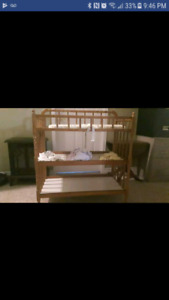 Solid wood crib and change table used