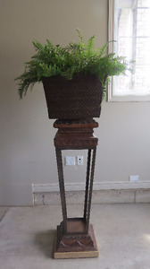 Decorative Stand With Fern In Basket