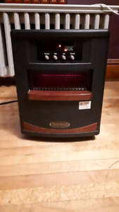 Heat-a-lot infared heater with remote control.