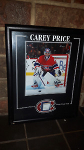 8 by 10 NHL Hockey picture with game used stick or piece of seat