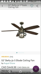 BEAUTIFUL CEILING FAN 52 INCHES BRAND NEW rustic/industrial look