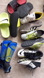 Gently used lot of sports cleats size 4 to 6.5