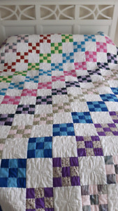Colorful bright hand made quilt