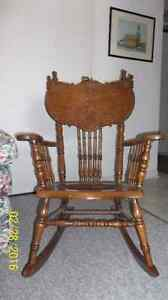 Antique Oak Rocking Chair w/ leather seat