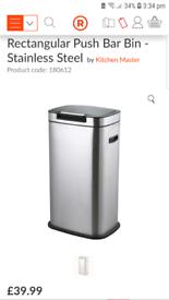 Stainless steel 40 L kitchen bin Black