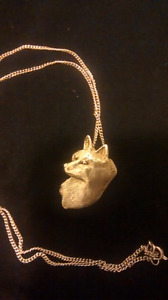 """Sterling silver jewelr designed wolf pendant on 20"""" chain"""