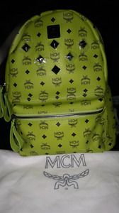 RARE  Authentic MCM Stark Stud LARGE LEATHER  Lime Green Backpac