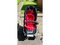 3 in 1 Teutonia buggy with pram base with cover , car seat with fixture for car. Excellent condition