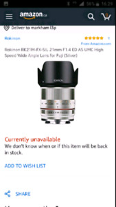 Rokinon Lens 21mm F1.4 ED High Speed Wide Angle for Fuji