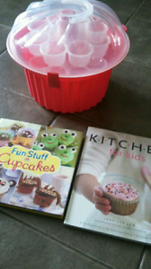 cup cake carrier and cookbooks