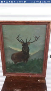 1901 oil painting and 19 40's Santa store display
