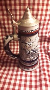 Glass Avon mug (metal lid)