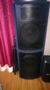 PA Speakers and Line Mixer
