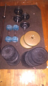 Weights and barbell for sale