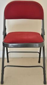 4 Burgundy velvet metal frame folding chairs for sale. More available on request