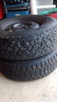 P205 / 75 R14 Uniroyal Tiger Paw Winter Tires Set of 2 On Rims