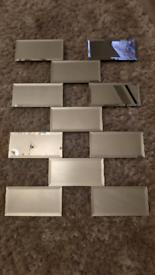 Brick effect frameless wall mirror