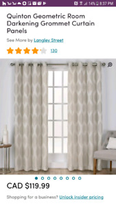Quinton Geometric Room Darkening Grommet Curtain Panels