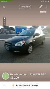 2009 Hyundai Accent Hatch low k w/winter tires Safetied