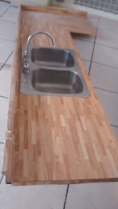 Countertop with Double Stainless Sink and Taps