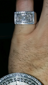 Mens 1.56ct White Gold Diamond Pinky Ring Rolex Breitling
