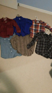 6 long sleeve button boys shirts size 7/8