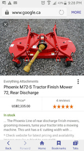 Looking for finish mower for a tractor 5 foot or bigger