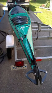 17.7 ft. current designs solstice gt kayak and galvanized traile