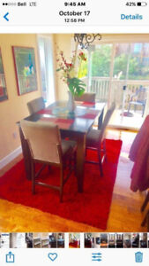 ASHLEY FURNITURE OAK WOOD DINING TABLE AND 6 CHAIRS