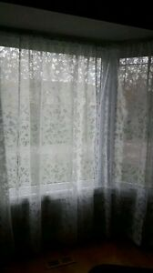 Semi sheer curtains - 3 panels with bay window rods