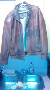 LEATHER JACKET SIZE BIG  XL/TG COLOR BROWN